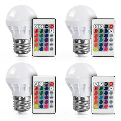4Pcs RGB LED Light Bulb 16 Colors Changing Magic Lamp 3W E27 + IR Remote Control