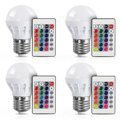4Pcs RGB LED Light Bulb 16 Colors Changing Magic Lamp 3W E27 + IR Remote Control