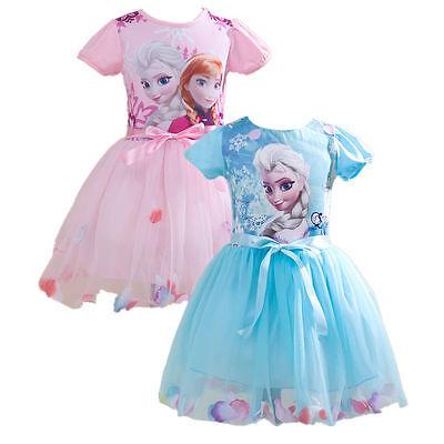 lsa Anna Prinzessin Kostüm  Kinder Mädchen Sommer-Kleid (Elsa Kind)