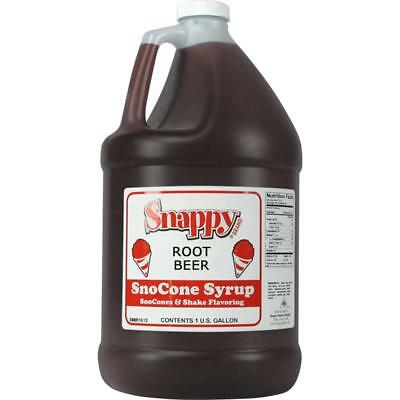 Snappy Snow Cone Syrup. 1 Gal. Root Beer Flavor Shaved Ice Or Slushies Great New