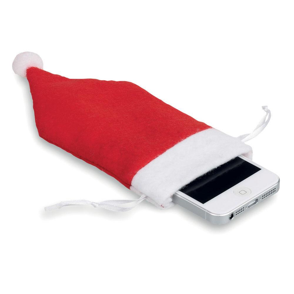 Calza Per Cellulare Sacchetto Babbo Natale Cappello Rosso Custodia Bianca