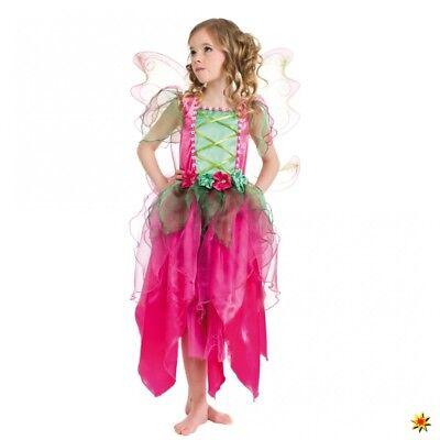 Kinderkostüm pinke Blumenfee 104-152 Kleid Flügel pink/grün Elfe Garten Fasching