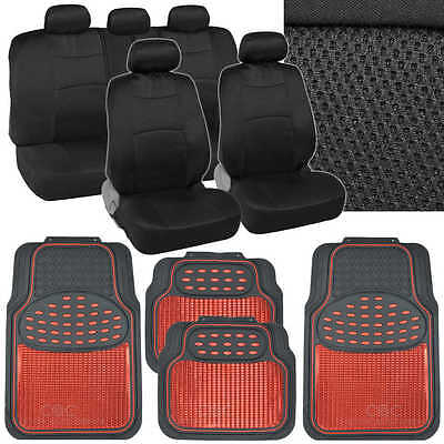 Black Car Seat Covers Mats Set - Knit Mesh Accents w/ Metallic Red Rubber Mats