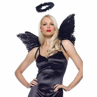 Good/Evil Naughty/Nice Angel Wings Halo Halloween Anime Costume Accessory Set - Good Angel Costumes