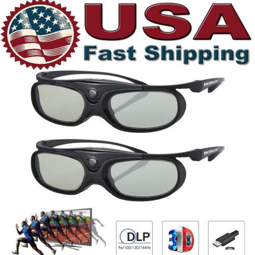 2x JX-30 Active Shutter 3D Glasses For DLP-LINK Projectors A