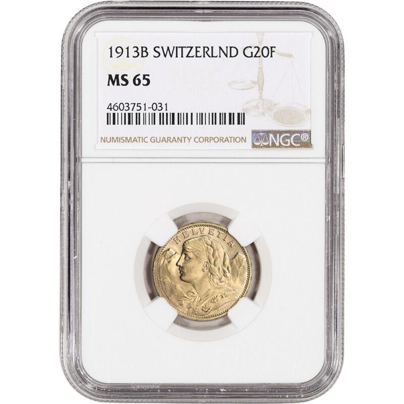 1913 B Switzerland Gold 20 Francs - NGC MS65