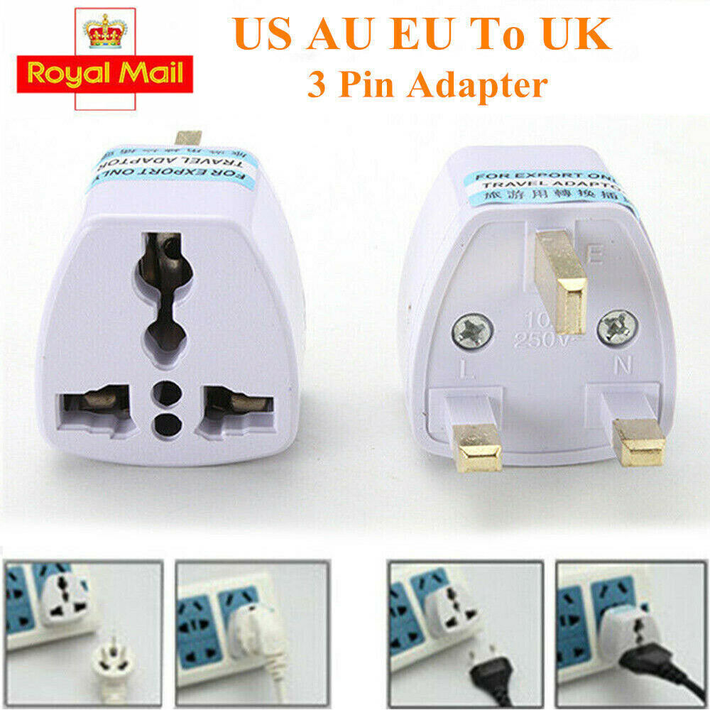 Plug Incutex 10x Power Adapter EU to UK Europe 2-Pin to 3-Pin UK 16A Fuse