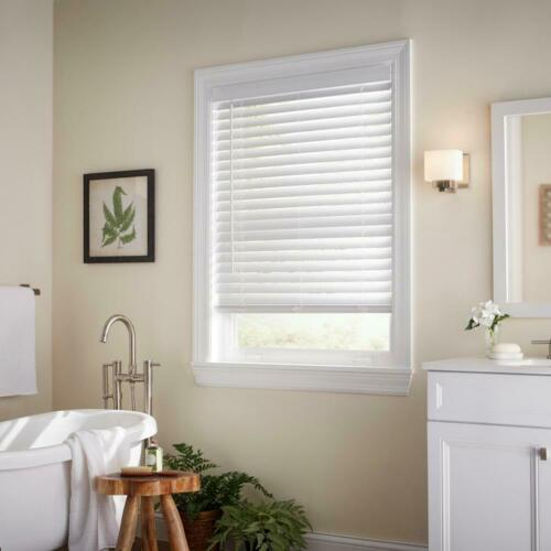 PRE CUT Home Decorators Collection White Cordless 2 in. Faux Wood Blind
