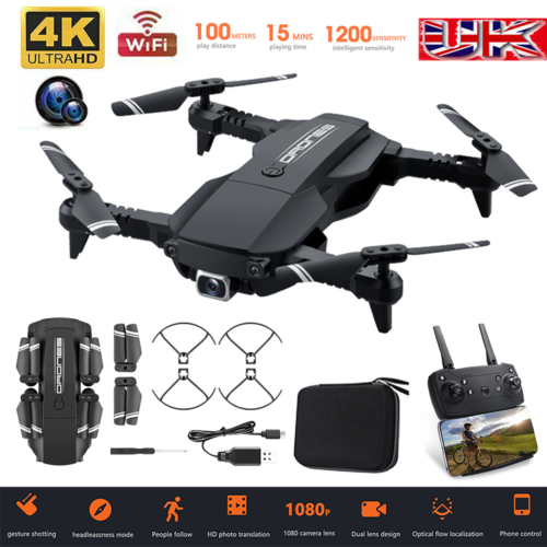Foldable RC Drone Quadcopter With HD 4K Camera WIFI Quadcopter Altitude Hold UK