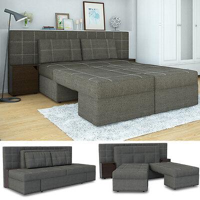 VICCO Schlafsofa mit Bettfunktion 235 x 105 cm Grau Dreisitzer Couch Schlafcouch ()
