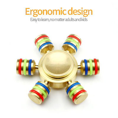 Fidget Hand Spinner Finger Toy EDC Focus ADHD Autism Stress Relief 6 Side BRASS