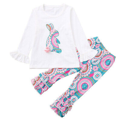 Easter Pant - USA Easter Baby Girls Long Sleeve Ruffle Rabbit T-Shirt & Flower Trouser Outfit