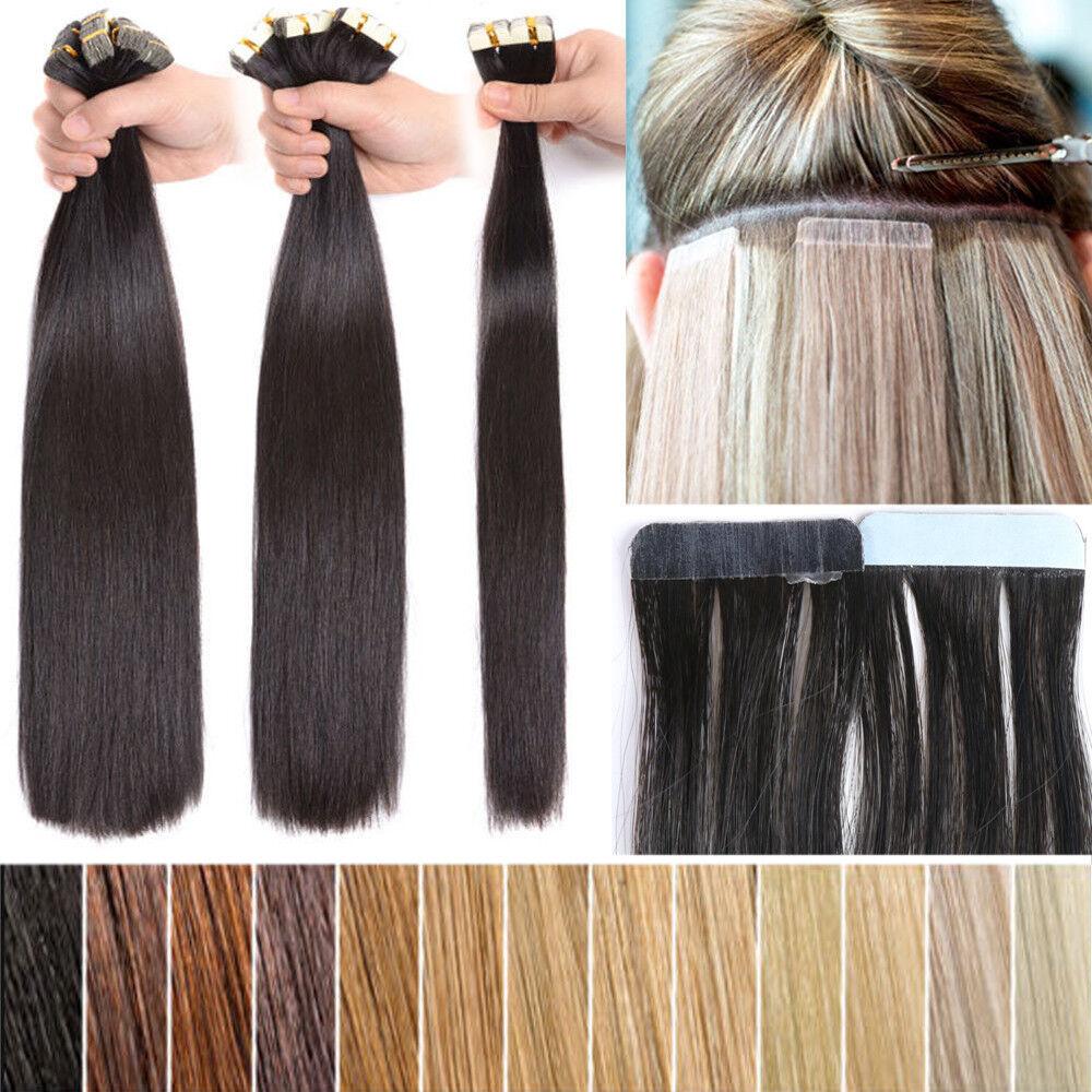 Super Weich Tape In/On Extensions Remy Echthaar Haarverlängerung 100% Human Hair