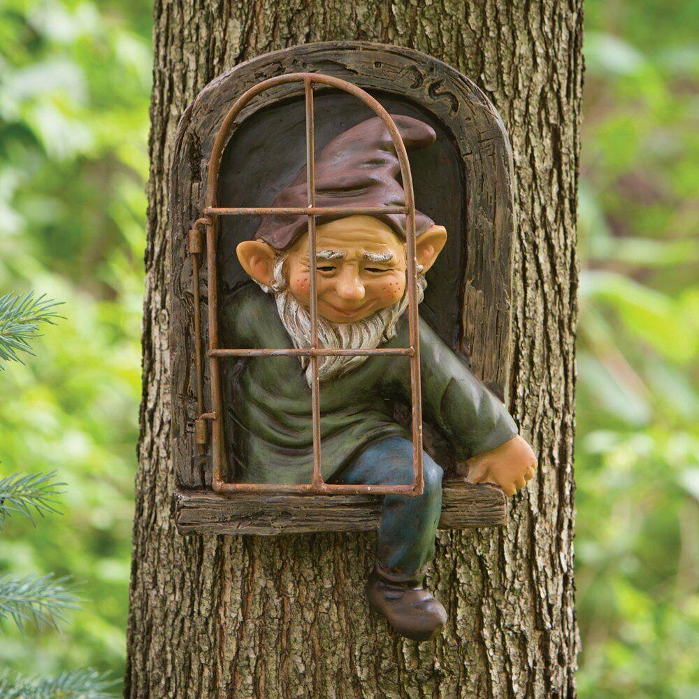 garden decor - Elf Out The Door Tree Hugger, Garden Peeker Yard Art Whimsical Tree Decoration