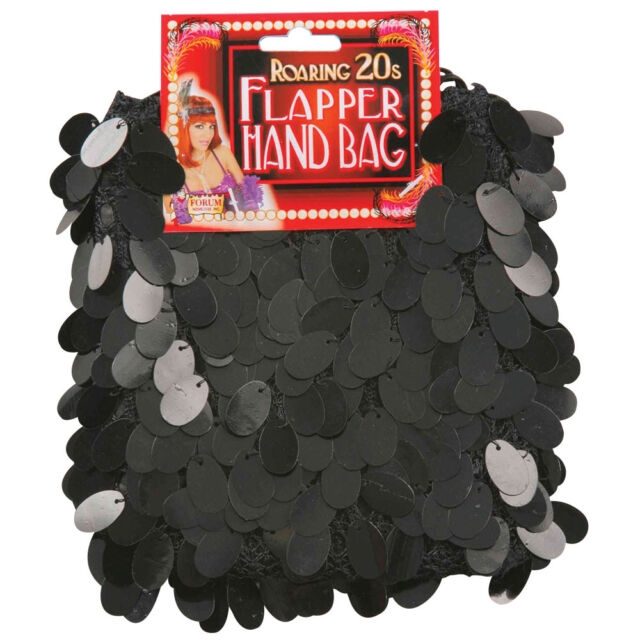 #LADIES FLAPPER BLACK SEQUIN HANDBAG 1920S FANCY DRESS ACCESSORY