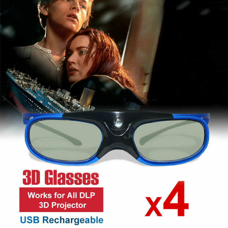 4x 3D Glasses Active for All DLP 3D Projector Optoma HD243X Vivitek BenQ Acer US