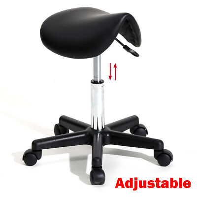 Hydraulic Lift Salon Stool Swivel Rolling Saddle Chair SPA Massage - black for sale  USA