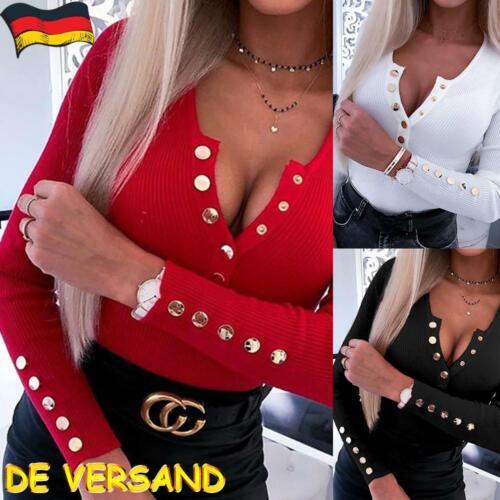 Sexy Damen V-Ausschnitt Langarm Sweatshirt Freizeit Slim HemdBluse Oberteile Top
