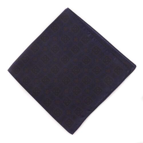 New $125 LUCIANO BARBERA Midnight Blue Medallion Print Silk Pocket Square