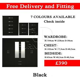 Brand new 6 door wardrobe 4 pcs set - black