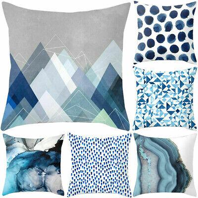 Blue Simple 18inch Pillow Cases Sofa Car Waist Throw Cushion Cover Home Decor Blue Cushion Cover
