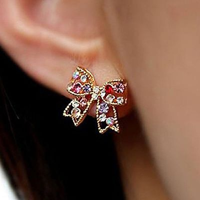 Bowknot Stud Ear Colorful Fashion Jewelry Bowknot Earrings Women Crystal