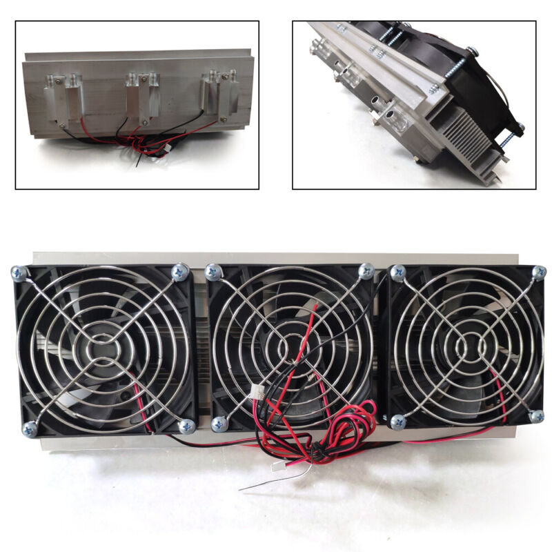 New 12A 12V 3 Chip DIY Thermoelectric Peltier Cooler Air Cooling Device MAX 210W