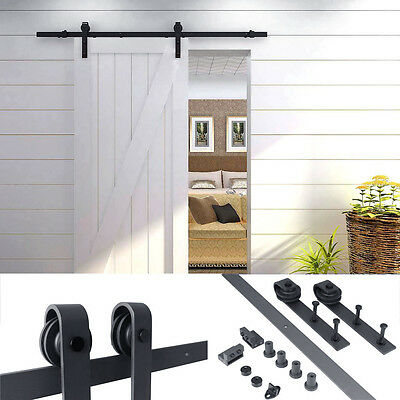 6 FT Country Frosted Black Steel Sliding Barn Wood Door Closet Hardware Antique