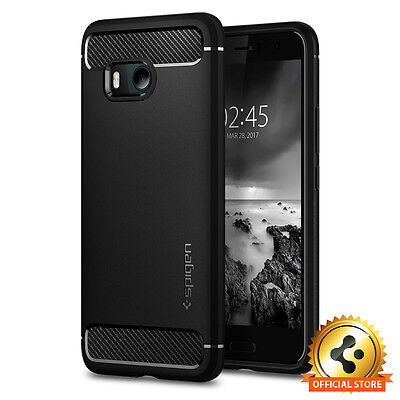 Spigen® HTC U11 [Rugged Armor] Black Shockproof Protective Slim TPU Case Cover 11' Protective Slim Case