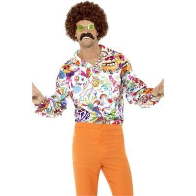 60's Groovy Hippie Costume Shirt Adult Mens Retro Peace Love Fancy Dress MD-XL (60s Men Costume)