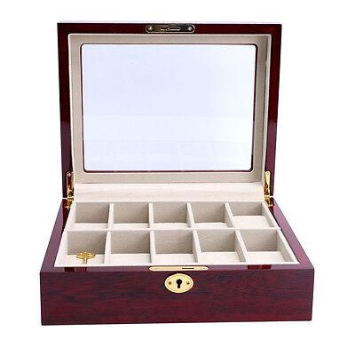 Wood Watch Box Big Man Wristwatch Case Top Display Gift-10 Slots