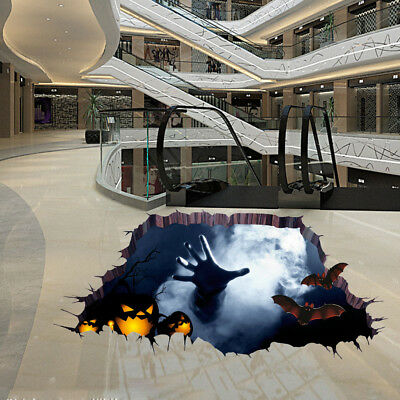 3D Halloween Mural Funny Floor Wall Sticker Household Room Decor Removable Decal