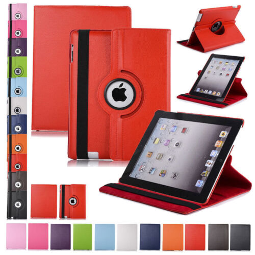 360 Rotating Leather Folio Case Cover Stand for iPad 234 Min