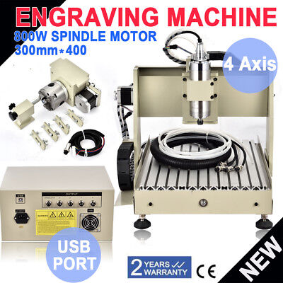 Usb 4 Axis 800w 3040 Cnc Router Engraver Engraving Milling Machine Woodworking