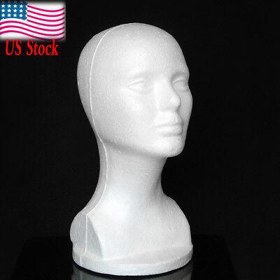 Women Styrofoam Hat Glasses Hair Wig Mannequin Chest Stand Display Head Model