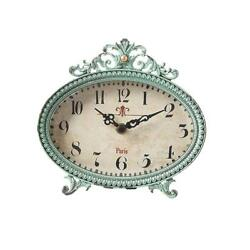 Aqua Table Clock Analog French Design Home Decor Mantle 6.25 in. H x 6.5 in. W