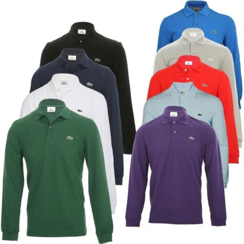 NEW MENS LACOSTE LONG SLEEVE CLASSIC FIT COTTON PIQUE POLO GOLF SHIRT, L1312