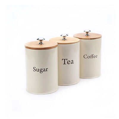 X022 Set of 3 Metal Food Storage Canister Jar Kitchen Containers with Bamboo Lid