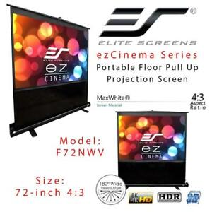 NEW Elite Screens ezCinema Series, 72-inch 4:3, Portable Floor Pull Up Projection Screen, Model: F72NWV Condtion: New...