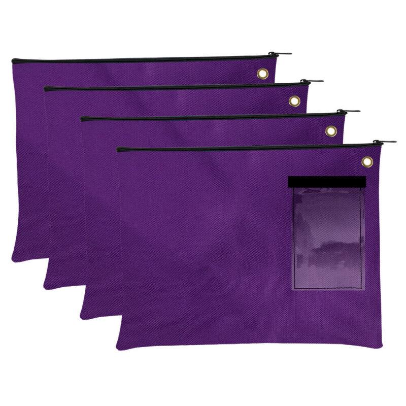Large Transit Bags - Document Carrier - Purple Zipper Pouch - Set of 4