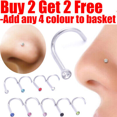 Nose Stud Pin Surgical Steel Small Gem Crystal Screw Nose Studs Piercing Pin