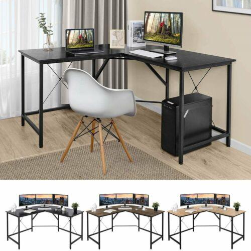 "Home Office L-Shaped Corner Computer Desk 55"" PC Study Table Workstation"