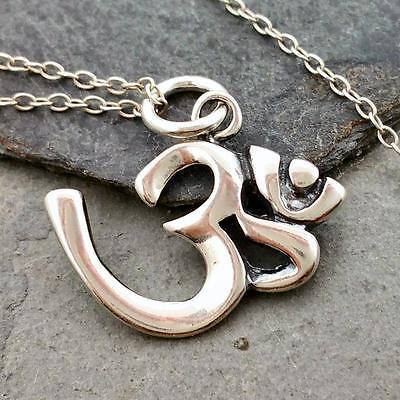 Om Necklace   925 Sterling Silver   Ohm Zen Yoga Namaste Charm Jewelry New