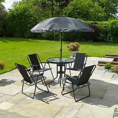 Garden Furniture - GARDEN PATIO FURNITURE SET 6 PC BLACK OUTDOOR 4 SEAT ROUND TABLE PARASOL WIDO