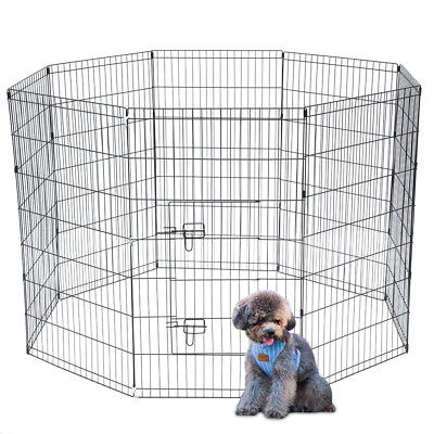 "42""Tall Wire Fence Pet Dog Cat Folding Exercise Yard Cages 8Panel Play Pen Black"