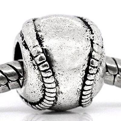 Baseball Softball Ball Sports Little League Spacer Charm for European Bracelets](Baseball Beads For Bracelets)