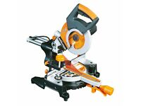 USED EVOLUTION RAGE3-S 210MM SINGLE-BEVEL SLIDING COMPOUND MITRE SAW 110V