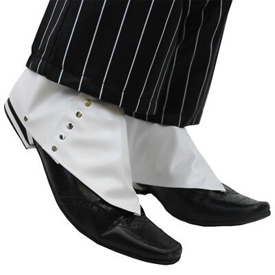 1920's SPATS SHOE COVERS ADULTS MEN'S GANGSTER FANCY DRESS MAFIA PIMP ACCESSORY - Mens 1920 Shoes