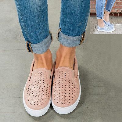 Women Ladies Trainers Breathable Plimsolls Slip On Flat Sneaker Pumps Shoes Size