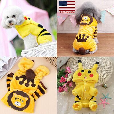 Halloween Costume Dog (Hoodie Costume Dog Clothes Pet Pikachu Coat Puppy Cat Lion N Pikachu)